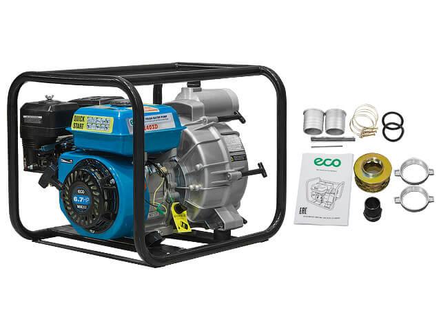 Мотопомпа бензиновая ECO WP-1403D (для загрязнённой воды, 4,9 кВт, 1400 л/мин)
